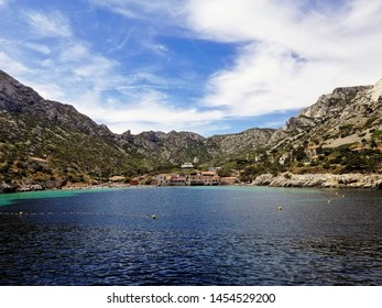 Beautiful sunny summer day in French Riviera. Landscape of Calanques National Park.