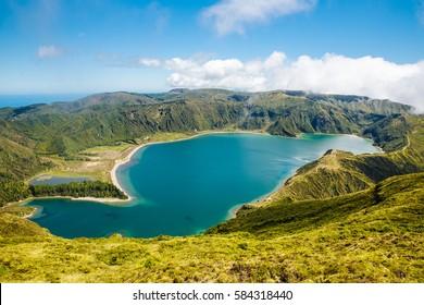 Beautiful sunny view of Lagoa do Fogo São Miguel Açores