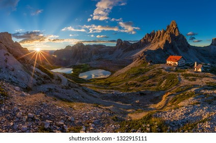 Beautiful sunraise in Tre Cime di Lavaredo National Park, Dolomites, Italy.