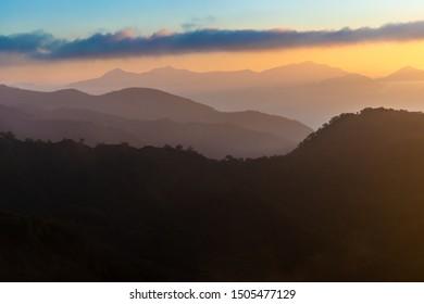 Beautiful sunrise above the Japanese Alps,, Hakuba, Japan