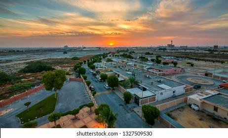Beautiful Sunrise aerial view at Dammam   Saudi Arabia.