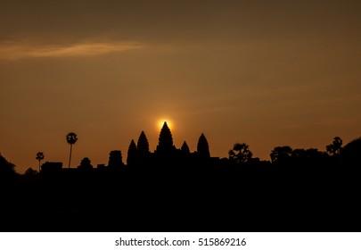 Beautiful sunrise at Angkor Wat temple