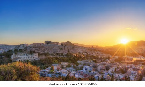 Beautiful sunrise in Athens. View from filopappou hill.