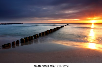 Beautiful sunrise at baltic beach in Poland - Hel - Wladyslawowo