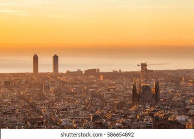Beautiful sunrise in Barcelona