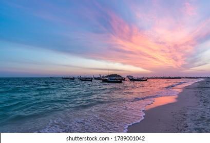 Beautiful sunrise at sunrise beach in Lipe Island,  Satun, Thailand