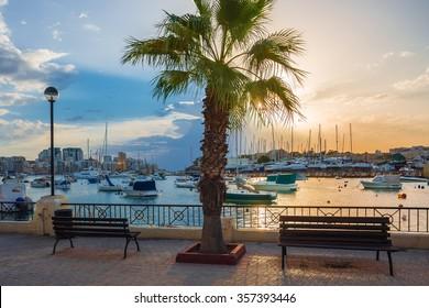 Beautiful sunrise with benches, palm tree and sailboats at Sliema bay, Malta