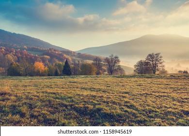 Beautiful sunrise in Bieszczady mountains at fall