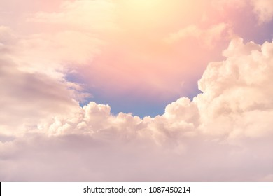 Beautiful sunrise bright sky with clouds. Peaceful background