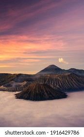 Beautiful sunrise at Bromo volcano mountain in East Java, Indonesia surrounded by morning fog