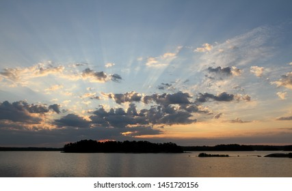 Beautiful sunrise by the Baltic Sea in summer