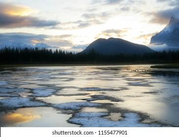 Beautiful sunrise, Canadian Landscape, Jasper National Park, Alberta, Canada