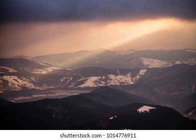 a beautiful sunrise in Ceahlau Mountain, Romania