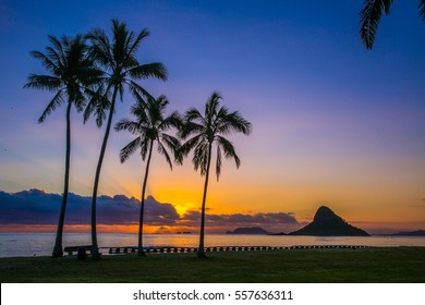 Beautiful Sunrise from Chinaman's Hat on Oahu, Hawaii