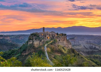 Beautiful sunrise in Civita di Bagnoregio - Viterbo, Lazio - Italy