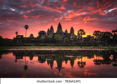 "Beautiful sunrise with colorful sky at Angkor Wat (means ""Temple City), a world heritage site, a temple complex in Siem Reap, Cambodia, the largest religious monument and the 7th wonder of the world."