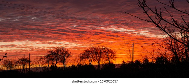 Beautiful sunrise in the countryside outside of Bushmills, Causeway Coast, Northern Ireland