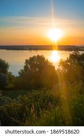 Beautiful sunrise dawn, river landscape of beautiful Ukrainian nature.