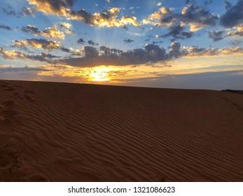 The beautiful sunrise at the desert.