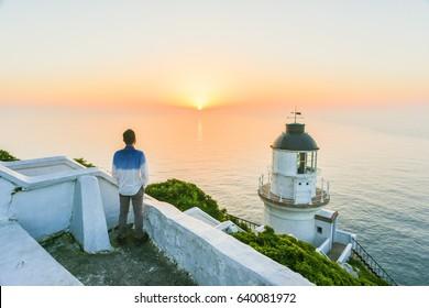Beautiful Sunrise at Dongyin Lighthouse, Dongyin, Matsu, Taiwan