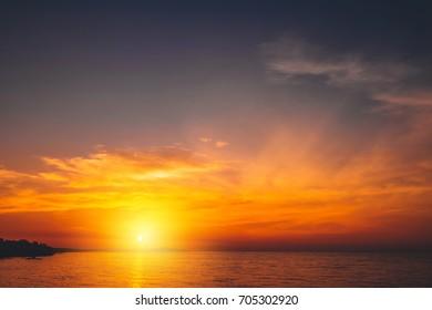 Beautiful sunrise and dramatic clouds on the sky,Sunrise