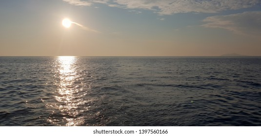 Beautiful sunrise during a sailing trip on the Adriatic Sea in Croatia, close to Dubrovnik and the National Park of the island Mljet