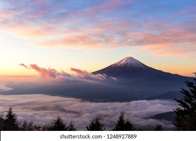 Beautiful sunrise and foggy view of Mount Fuji at Lake Kawaguchi,Yamanashi, Japan.