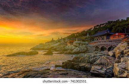 Beautiful sunrise Haedong Yonggungsa Temple Busan,Korea.