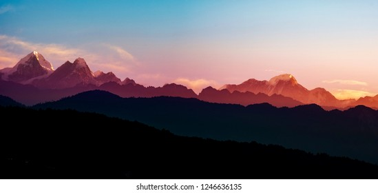 Beautiful sunrise of the Helambu range, Langtang national reserve, Nepal