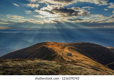 Beautiful sunrise high in the Carpathian mountains. Wild untouched nature landscape