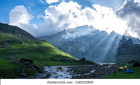 Beautiful sunrise in Himalaya Range mountain landscape of Sonamarg, Jammu and Kashmir state, India. The  Lake river in the Indian Himalaya range.