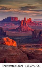 Beautiful Sunrise in Hunts Mesa navajo tribal majesty place near Monument Valley, Arizona, USA