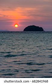 A beautiful sunrise at Koh Lipe in  Andaman sea. Southern Thailand.