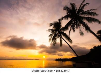 beautiful sunrise at Koh Payam island, Ranong, Thailand