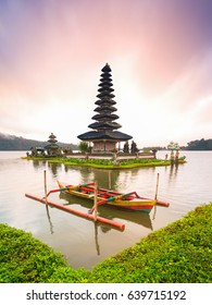 A beautiful sunrise at a Lake Bratan with Pura Ulun Danu Bratan Temple, Hindu temple on Bratan lake landscape, Major Shivaite and water temple Bali, one of famous tourist attraction in Bali  Indonesia