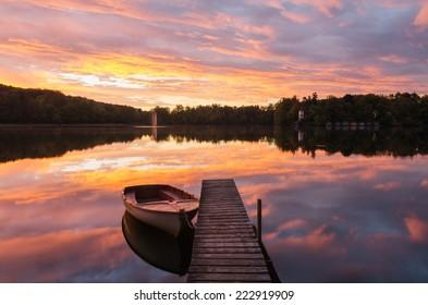Beautiful sunrise at lake Wesslinger See near Munich, Bavaria, Germany