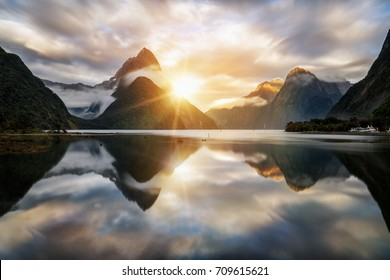 Beautiful sunrise in Milford Sound, New Zealand.