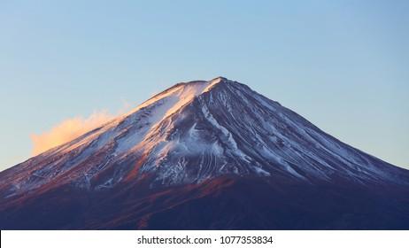 Beautiful sunrise at Mount Fuji.Mount fuji is the highest mountain in Japan. Mount Fuji located on Honshu island.