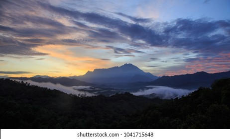 Beautiful sunrise with Mount Kinabalu as background on 28 January, 2017 After earthquake on 6 June, 2015 with Magnitude 6.0 / Beautiful Mount Kinabalu, Sabah , Borneo.