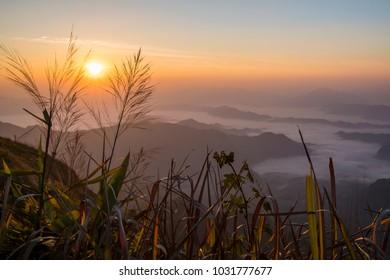 So beautiful sunrise mountain with fog on Phucheefah in Chiang Rai Province, Thailand