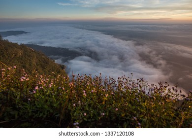 Beautiful sunrise at mountain, morning mist at the mountains