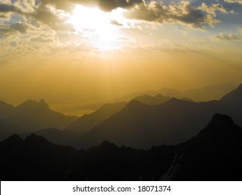 Beautiful sunrise in mountains. Caucasus.