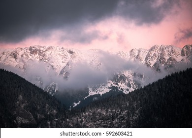 Beautiful sunrise in mountains.mountain peak,snowy mountains.natural landscape