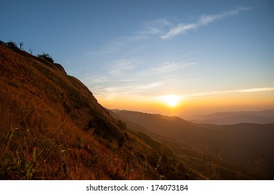 Beautiful sunrise nature background Mountains and sky