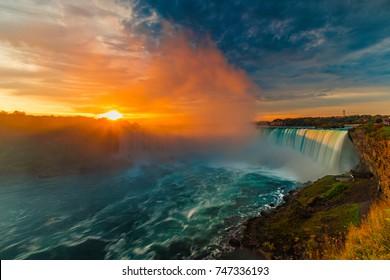 Beautiful Sunrise at Niagara Falls Horseshoe Waterfall