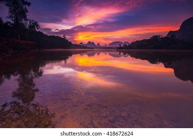 Beautiful sunrise at the nongtalay lake in krabi Province,Thailand,Karntiphat Changrua