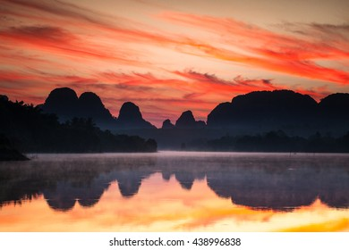 Beautiful sunrise at the nongtalay lake in krabi Province,Thailand