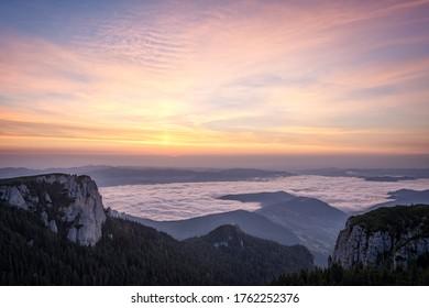 Beautiful sunrise on an autumn day in Ceahlau Mountains, Romania