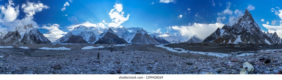 Beautiful sunrise on Baltoro Glacier in Karakoram Mountain Range in Pakistan.