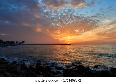 A beautiful sunrise on the beach in Chilches, Castellón, Spain